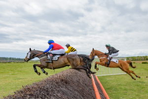 Royal Chatelier (nearside) ridden by Jamie Alexander, Nickwillis, Cameron Wade, the eventual winner with Great Gusto (Will Ramsay) on the right.
