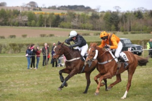 Competitive Ladies Race, winner nearside Whisperdale, owned by Jack Clark, ridden by Charlotte Dunn, with Shantou Magic, ridden by Kelly Bryson, owned Will Ramsay.