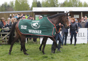 The 2017 Grand National Winner, One for Arthur, parading at Balcormo led by jockey Derek Fox. Lucinda Russell is giving an interview in the background
