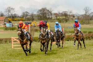 The Pentland Rover Mens Open Race at Balcormo Point-to-Point on 23 Apr 2016. Have One for Me (4th) is leading Supreme Regime (5th) with Oldrik (3rd) just behind, eventual second For a Finish in light blue followed by the winner All the Kings Horses waiting at the rear.